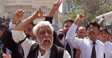 Pakistani lawyers protest against General Musharraf's candidacy for the upcoming presidential elections