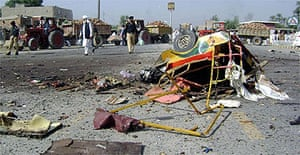 The site of a suicide bombing in Bannu, Pakistan