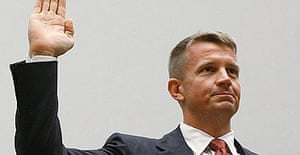 Erik Prince, chairman of the Prince Group, LLC and Blackwater USA, is sworn in during a House oversight and government reform committee hearing on Capitol Hill, Washington DC.