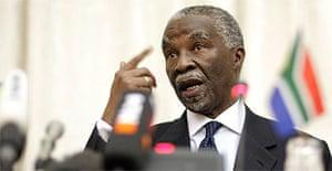 Thabo Mbeki faces the press in Pretoria