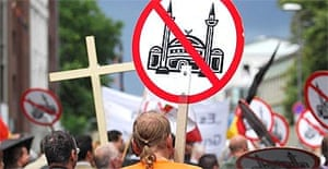 Protest against plans to build a mosque in Cologne, Germany