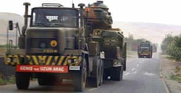 Turkish military trucks on the move in the south-east of the country