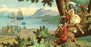 llustration of Christopher Columbus Arriving in the New World by T Sinclair