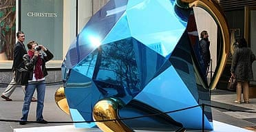 Jeff Koons' Diamond (Blue) is displayed in the plaza outside Christie's in New York.