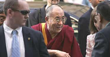 The Dalai Lama arrives in Washington to receive a congressional medal