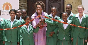 US talk show queen Oprah Winfrey opens a school for poor South African girls she has funded, in Johannesburg.