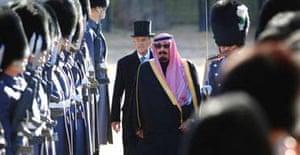 The Duke of Edinburgh with King Abdullah of Saudi Arabia at Horseguards Parade
