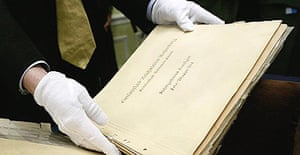 A recently discovered leather bound photo album documenting art that was looted by Nazi forces during world war II at the National Archives in Washington DC.