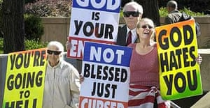 Westboro Baptist church members protest outside the federal courthouse in Baltimore