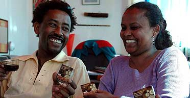 Two Ethiopian people discuss coffee-flavoured condoms in Addis Ababa
