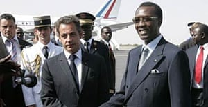 French President Nicolas Sarkozy with Chadian President Idriss Deby.