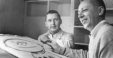 The real Charlie Brown, left, and Charles Schulz drawing his friend's cartoon namesake.