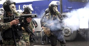 Georgian police use tear gas to disperse protesters in Tbilisi earlier today