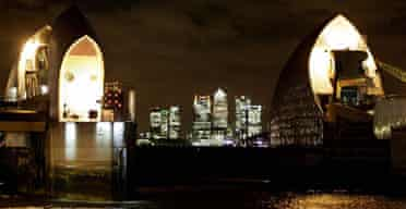 The Thames barrier in London, closed to defend against the tidal surge expected to hit the coast of England
