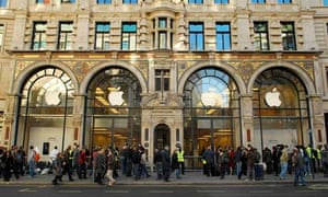 A crowd gathers outside the Regent Street Apple store in London in anticipation of the iPhone going on sale