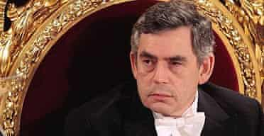Prime minister Gordon Brown at the Lord Mayor's banquet at London's Guildhall