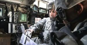 Stryker Cavalry Regiment troops on patrol in Baghdad