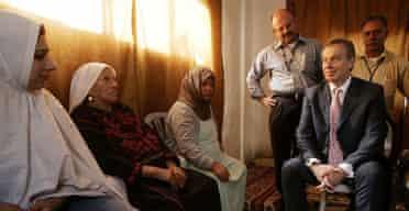 Tony Blair visiting a West Bank refugee camp