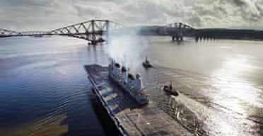 HMS Ark Royal departs from Rosyth dock yard.
