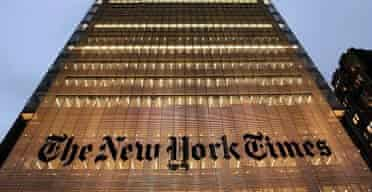 A view of the new New York Times headquarters building in New York