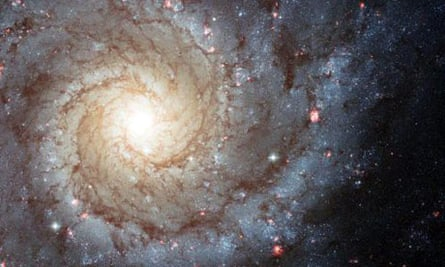 An image of distant spiral galaxy Messier 74 captured using the Hubble space telescope
