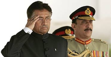President Pervez Musharraf salutes after being sworn in as Pakistan's president