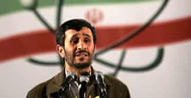 Iranian President Mahmoud Ahmadinejad speaks at a ceremony in Iran's nuclear enrichment facility in Natanz.