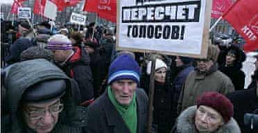 Protests in Moscow against Putin win