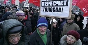 Communist Party activists protest against Russia's election results.