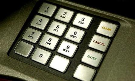 ATM keypad.