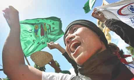 Environmental activists protest at the UN Climate Change conference in Bali