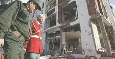 Republican guards outside the bombed constitutional court in Algiers