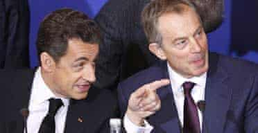 Blair and Sarkozy at Paris conference on Palestinians