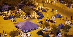 Muslim pilgrims on hajj camp outside Namira mosque southeast of the Saudi holy city of Mecca