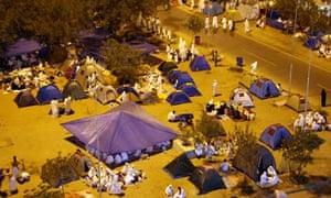 Muslim pilgrims on hajj camp outside Namira mosque southeast of the Saudi holy city of Mecca