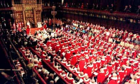 The Queen sits on the throne in the House of Lords for the state opening of parliament
