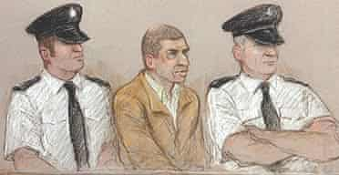A court sketch of Sean Hoey