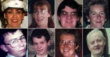 Omagh bomb victims composite. Top row, left to right: Geraldine Bresslan, Esther Gibson, Brian White, Elizabeth Rush. Bottom row, left to right: Gareth Conway, Alan Radford, Veda Short, Fred White
