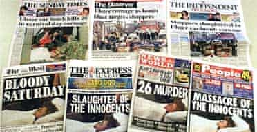 Newspaper front pages the day after Omagh
