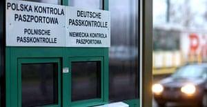 A closed passport control office at the German-Polish border near Frankfurt an der Oder
