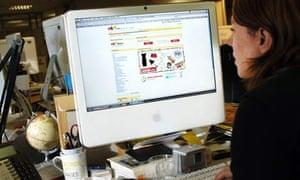 Computer showing internet auction site eBay