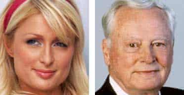 Composite image of socialite Paris Hilton and her grandfather, Barron Hilton