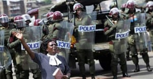 A woman protesting in Nairobi