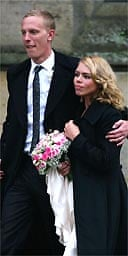 Billie Piper and her husband, Laurence Fox, leave St Mary's church, Easebourne, West Sussex after being married