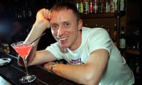 DJ Kevin Greening enjoys a cocktail at the Detroit bar in London, as part of the 'Absolut Bar Stars' event, organised by the Terrence Higgins Trust in 1999