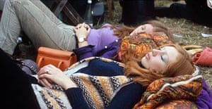 Hippies at the Isle of Wight music festival in 1969