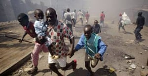 A man and his children flee violence in Nairobi