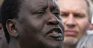 The Kenyan opposition leader Raila Odinga gives a press conference