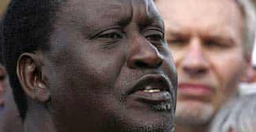 The Kenyan opposition leader Raila Odinga gives a press conference
