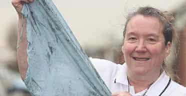 """Jenny Marsey from Hartlepool holds up her size 18-20 """"emergency"""" knickers"""